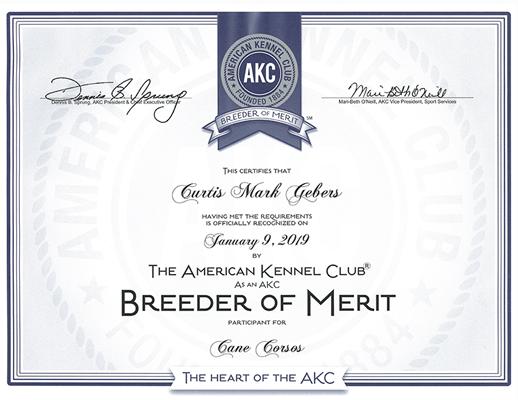 AKC Breeder of Merit Certificate
